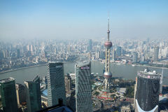 Overlooking Shanghai Lujiazui with oriental pearl tv tower Stock Image