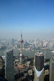 Overlooking Shanghai Lujiazui with oriental pearl tv tower Stock Photography