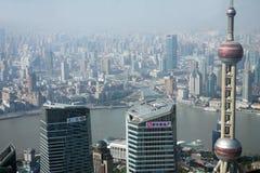 Overlooking Shanghai Lujiazui with oriental pearl tv tower Stock Image
