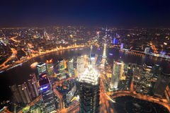 Overlooking shanghai at night Royalty Free Stock Photos