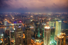 Overlooking shanghai at night Stock Photos