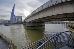 Overlooking the Shard Tower and the banks of Thames river below. LONDON, ENGLAND - NOVEMBER 27, 2017: Overlooking the Shard Tower and the banks of Thames river Stock Photography