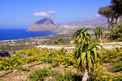 Overlooking Sicily coastline. Overlooking scenic coastline of southwestern Sicily including the town of Valderice Royalty Free Stock Photography