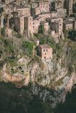 Sorano Ancient Buildings, Hillside From Park. Overlooking Sorano is a park where you can see straight at the ancient buildings of the city stock images
