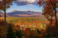 Overlooking Stowe village in the fall Royalty Free Stock Photo