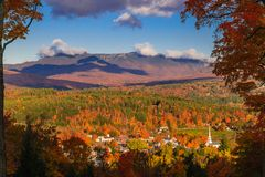 Overlooking Stowe village in the fall Stock Images