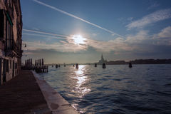 Overlooking the sun in Venice Royalty Free Stock Image
