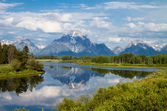 Overlooking Teton Mountains from Oxbow Bend Turnout Stock Photos