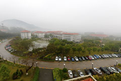 Overlooking the tianzhu resorts hotel in rain Stock Photo