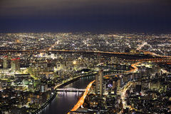 Overlooking the Tokyo. Tokyo is so beautiful in the night Royalty Free Stock Image