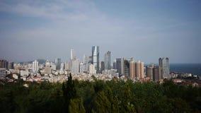 Overlooking urban & sea skyline,china QingDao(tsingtao). Overlooking urban & sea skyline,china QingDao(tsingtao).  gh2_06654 stock video