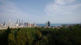 Overlooking urban & sea skyline,china QingDao(tsingtao). Overlooking urban & sea skyline,china QingDao(tsingtao).  gh2_06655 stock video