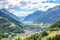 Overlooking Valley In Switzerland royalty free stock photography