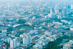 Overlooking View of the Bangkok Cityscape in the Early Morning Stock Photos