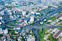 Overlooking View of a Complex Highway Interchange, Snaking Throu Royalty Free Stock Photos