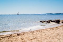 The overlooking view of the shore in Massachusetts at Cape Cod Beach stock photo