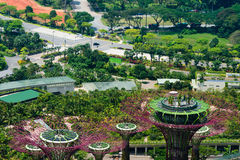 Overlooking view of Supertrees Grove at Gardens by the Bay in Si Stock Photos