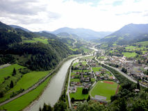Overlooking the village of Werfen Stock Photos