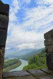 Overlooking water conservancy of dujiangyan through battlement. Fish mouth in mingjiang river , ancient water conservancy of dujiangyan built by libing two Royalty Free Stock Image