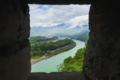 Overlooking water conservancy of dujiangyan through battlement Royalty Free Stock Photography