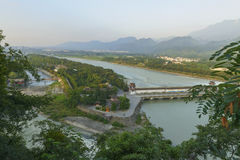 Overlooking water conservancy at dujiangyan Royalty Free Stock Photos