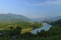 Overlooking water conservancy at dujiangyan Stock Photography