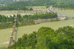 Overlooking water conservancy landscape at dujiangyan. Yuzui landscape part of water conservancy system at dujiangyan , China built by libing 2000 years ago Stock Photography