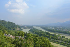 Overlooking water conservancy system at dujiangyan and Chinese temple Royalty Free Stock Photos