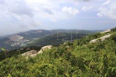 Overlooking the wind power field Stock Photos