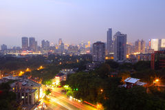 Overlooking xiamen city at night Royalty Free Stock Image