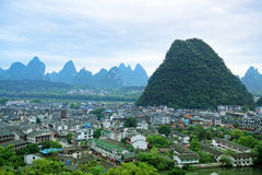 Overlooking the yangshuo county town Stock Photo
