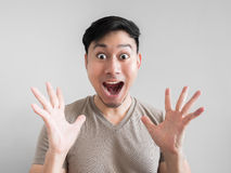Overly shock and surprise face of man. Royalty Free Stock Photography