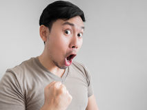 Overly shock and surprise face of man. Royalty Free Stock Photo