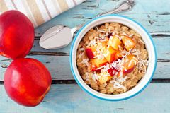Overnight breakfast oats with peach and coconut, overhead scene. Bowl of overnight breakfast oats with diced peach and coconut, overhead scene on rustic blue Royalty Free Stock Image
