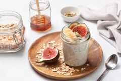 Overnight  oatmeal with fruits Stock Image