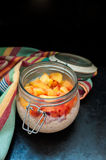 Overnight Oatmeal. Oatmeal with yogurt and peaches Royalty Free Stock Images