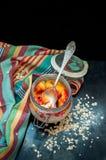 Overnight Oatmeal. Oatmeal with yogurt and peaches Stock Photo