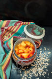 Overnight Oatmeal. Oatmeal with yogurt and peaches Stock Photography