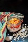 Overnight Oatmeal. Oatmeal with yogurt and peaches Stock Image