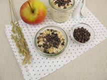 Overnight-Oats with cocoa nibs. Overnight-Oats with superfood cocoa nibs stock photo