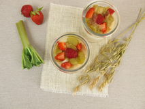 Overnight-Oats with quark, rhubarb and strawberries Stock Photography