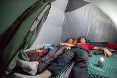 Overnight in tent camp. Stock Photos