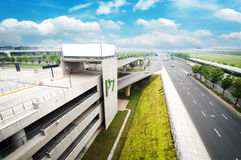 Overpass and billboards Royalty Free Stock Image