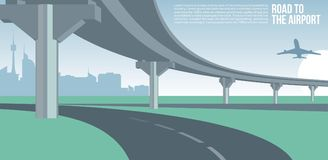 Overpass or bridge, in a city road to airport cityscape suburban or urban cool  banner or poster illustration. Overpass or bridge, in a city road to airport Royalty Free Stock Photo