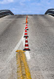 Overpass without cars with traffic cones Royalty Free Stock Photography