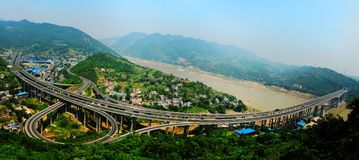 Overpass in Chongqing. Overpass of the inner ring expressway around the main city in Chongqing Stock Images