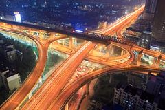 Overpass in city at night. Overpass in modern city at night Royalty Free Stock Image