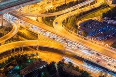 Overpass closeup at night. City interchange closeup at night on rush hour Royalty Free Stock Photography