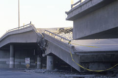 Overpass that collapsed on Highway 10. In the Northridge/Reseda area at the epicenter of earthquake in 1994 Royalty Free Stock Photos