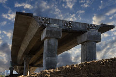 Overpass within construction. With clouds on background Royalty Free Stock Photos